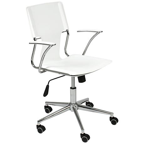 Terry White Faux Leather Swivel Office Chair