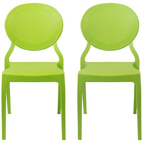 Vasska Green Molded Side Chair Set of 2
