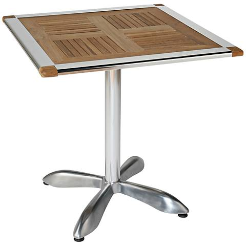 Sheldon Teak Top Aluminum Bistro Table