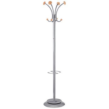 Stily Modern 8-Hook Silver Coat Rack Umbrella Holder