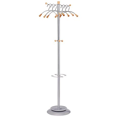 Wavy 6-Hanger Mahogany Coat Rack Umbrella Holder