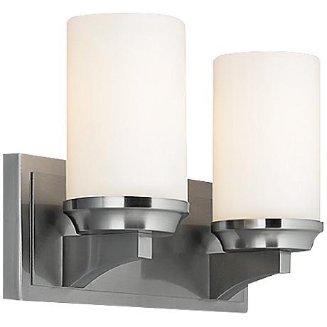 """Feiss Amalia 14"""" Wide Brushed Steel Bathroom Light"""