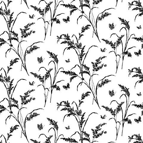 York Sure Strip Beige Tall Grass with Butterflies Wallpaper