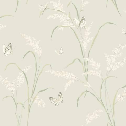 York Sure Strip Cream Tall Grass with Butterflies Wallpaper