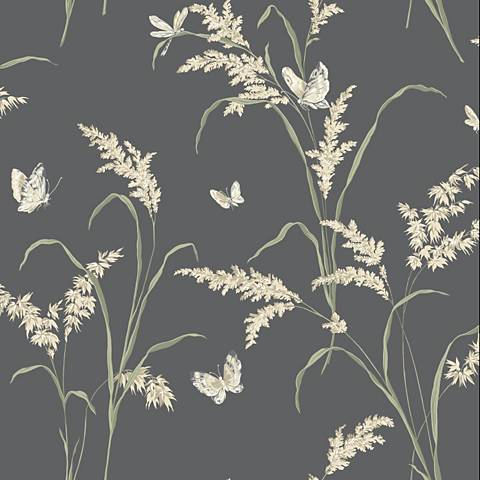 York Sure Strip Gray Tall Grass with Butterflies Wallpaper