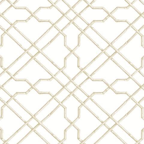 York Sure Strip White and Tan Bamboo Trellis Wallpaper