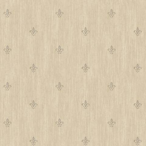 York Sure Strip Tan Cabana Fleur-De-Lis Wallpaper