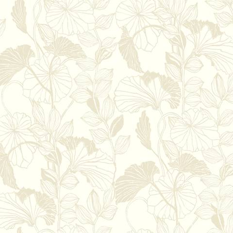 York Sure Strip White Leaf Outline Pre-Pasted Wallpaper