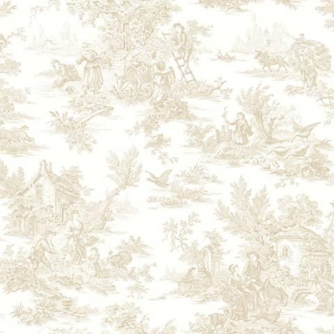 York Sure Strip Cream Champagne Toile Pre-Pasted Wallpaper