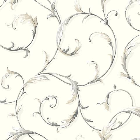 York Sure Strip Cream Acanthus Scroll Pre-Pasted Wallpaper