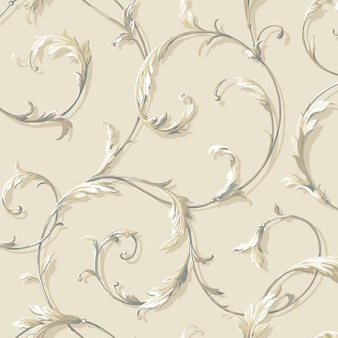 York Sure Strip Tan Acanthus Scroll Pre-Pasted Wallpaper
