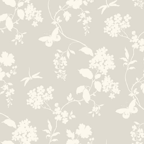 York Sure Strip Gray Scenic Vines Pre-Pasted Wallpaper
