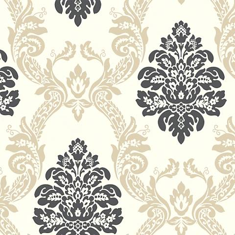 York Sure Strip Cream Ogee Damask Pre-Pasted Wallpaper