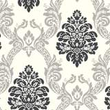 York Sure Strip Gray Ogee Damask Pre-Pasted Wallpaper