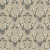 York Sure Strip Charcoal Document Damask Wallpaper