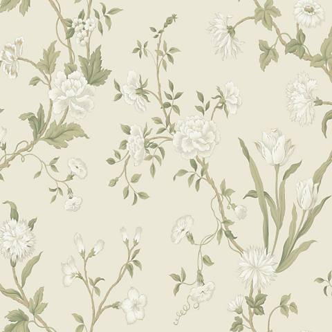 York Sure Strip Beige Gracie Floral Pre-Pasted Wallpaper