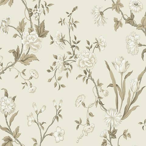 York Sure Strip Silver Gracie Floral Pre-Pasted Wallpaper