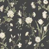 York Sure Strip Charcoal Gracie Floral Pre-Pasted Wallpaper