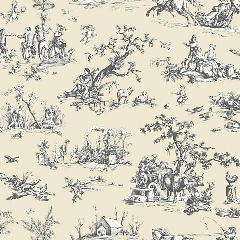 York Sure Strip Tan Scenic Toile Pre-Pasted Wallpaper