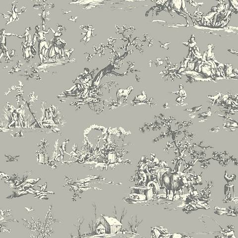 York Sure Strip Gray Scenic Toile Pre-Pasted Wallpaper