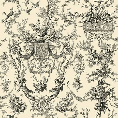 York Sure Strip Old World Toile Pre-Pasted Wallpaper