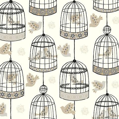 York Sure Strip White and Gray Birdcage Wallpaper
