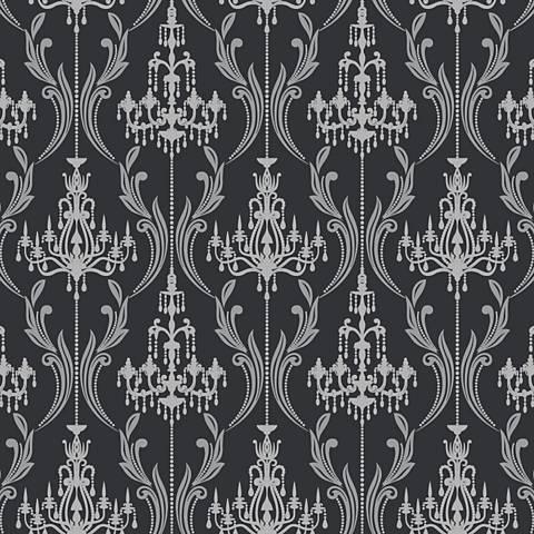 York Sure Strip Black Chandelier Damask Wallpaper