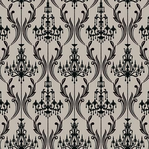 York Sure Strip Gray Chandelier Damask Wallpaper