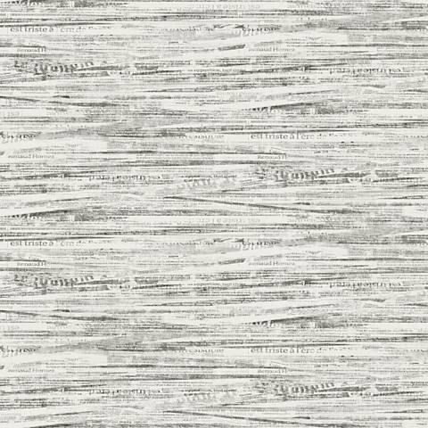York Sure Strip Gray Newsprint Pre-Pasted Wallpaper