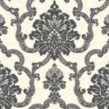 York Sure Strip Beige Decorative Damask Wallpaper