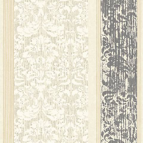 York Sure Strip Cream Damask Stripe Pre-Pasted Wallpaper
