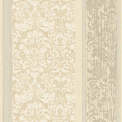York Sure Strip Taupe Damask Stripe Pre-Pasted Wallpaper