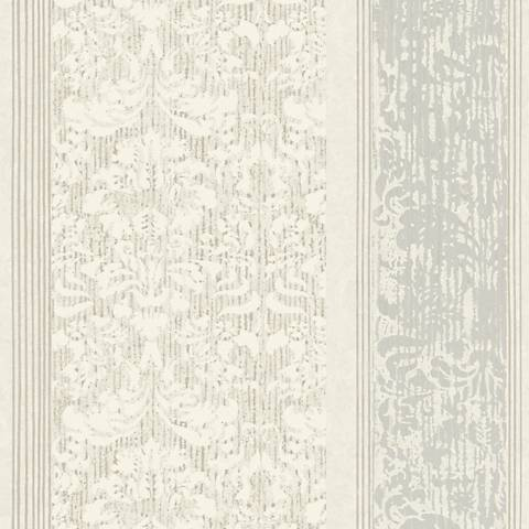 York Sure Strip Gray Damask Stripe Pre-Pasted Wallpaper