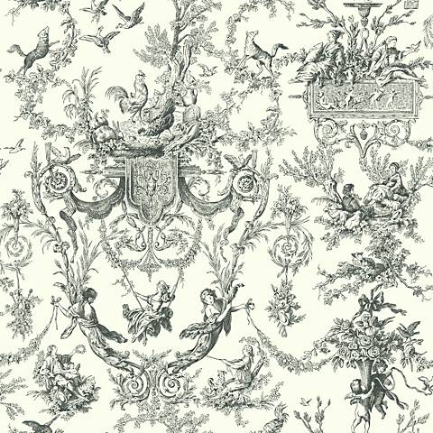 York Sure Strip Black Campagne Toile Removable Wallpaper