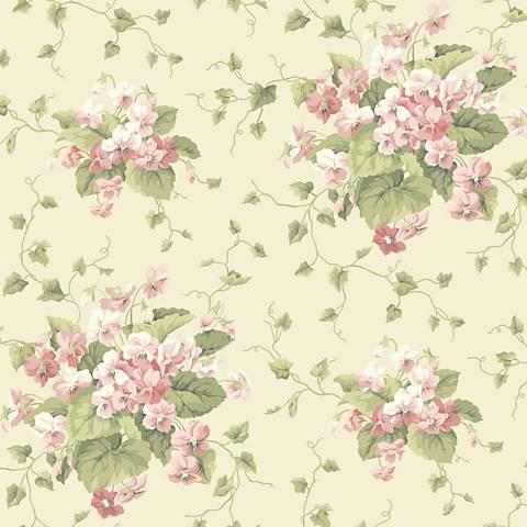 York Sure Strip Cream Waverly Sweet Violets Wallpaper