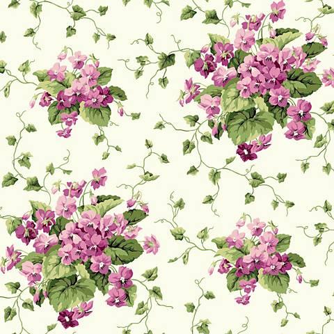 York Sure Strip Green Waverly Sweet Violets Wallpaper