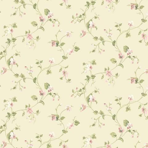 York Sure Strip Cream Waverly Sweet Violets Trail Wallpaper