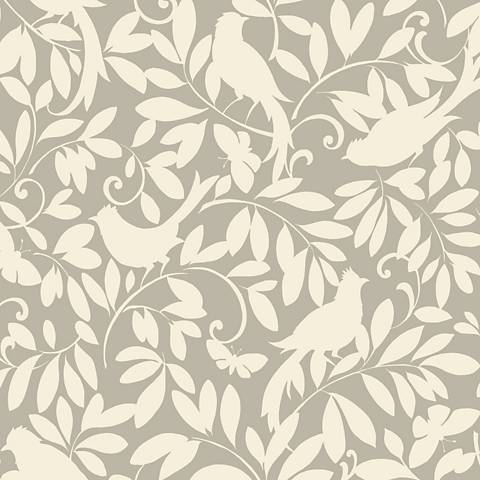 York Sure Strip Silver Waverly Birdsong Removable Wallpaper