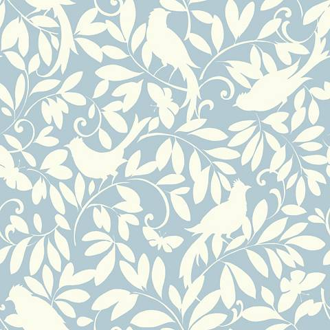 York Sure Strip Blue Waverly Birdsong Removable Wallpaper