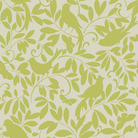York Sure Strip Lime Waverly Birdsong Removable Wallpaper
