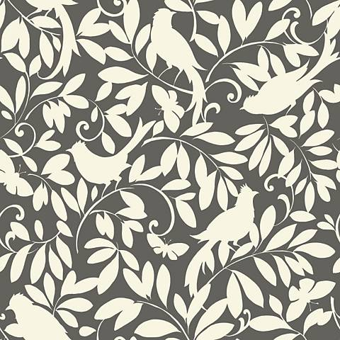 York Sure Strip Gray Waverly Birdsong Removable Wallpaper