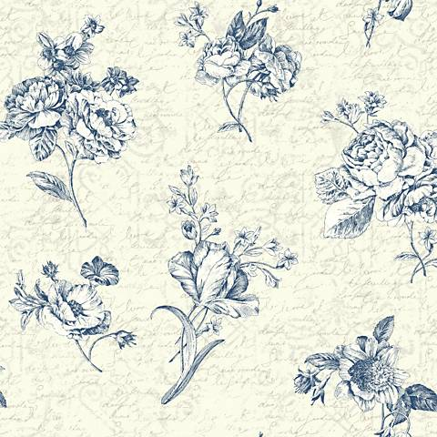 York Sure Strip Blue Waverly Picture Perfect Wallpaper