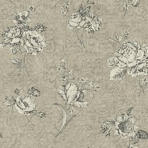 York Sure Strip Gray Waverly Picture Perfect Wallpaper