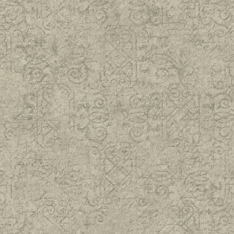 York Sure Strip Gray Waverly Pen Pal Removable Wallpaper