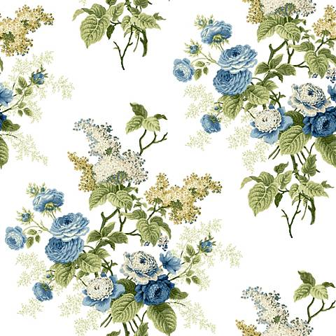 York Sure Strip Blue Waverly Emma's Garden Wallpaper
