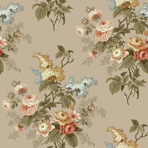 York Sure Strip Peach Waverly Emma's Garden Wallpaper