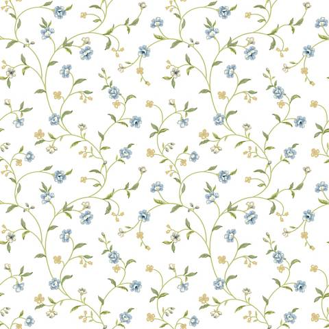 York Sure Strip Blue Waverly Bellisima Vine Wallpaper