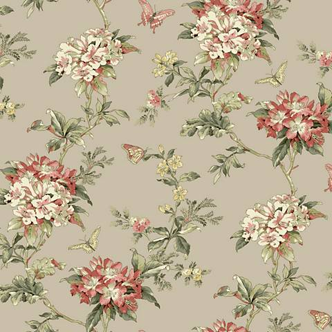 York Sure Strip Peach Waverly Fawn Hill Removable Wallpaper