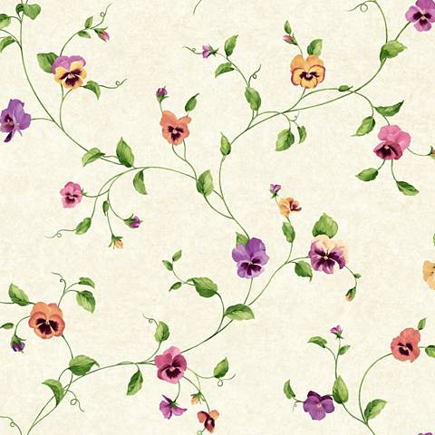 York Sure Strip Cream Pansy Trail Removable Wallpaper