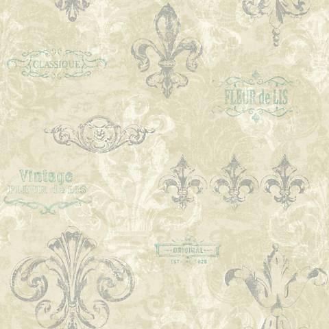 York Sure Strip Beige Fleur-de-Lis Removable Wallpaper